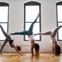 Ladies doing gymnastics stretching